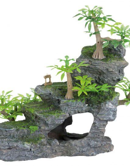 Rotstrap met kunststof planten